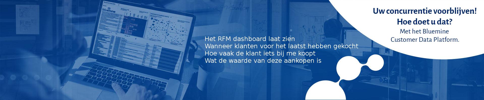 Het Bluemine RFM dashboard laat zien  Wanneer klanten voor het laatst hebben gekocht Hoe vaak de klant iets bij me koopt Wat de waarde van deze aankopen is